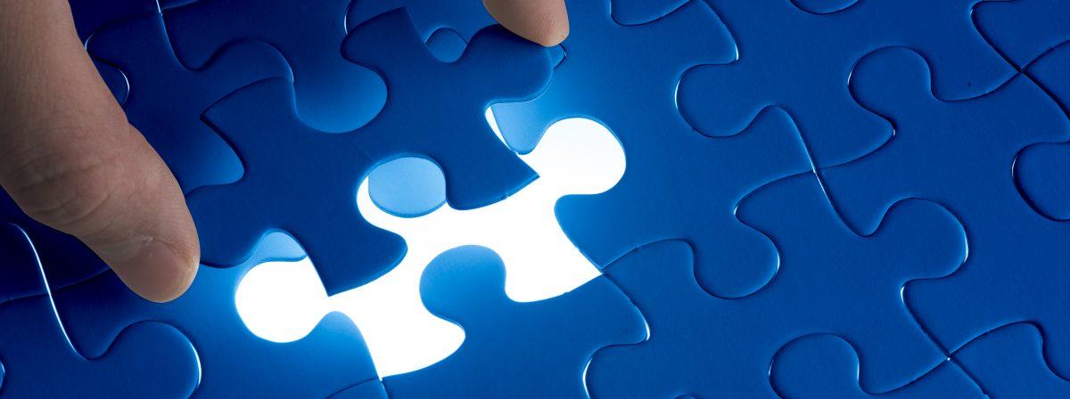 placing a puzzle piece